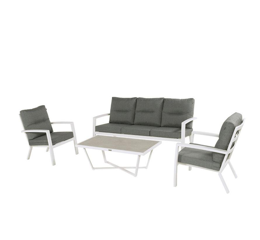 Canberra aluminium loungeset Wit met loungetafel