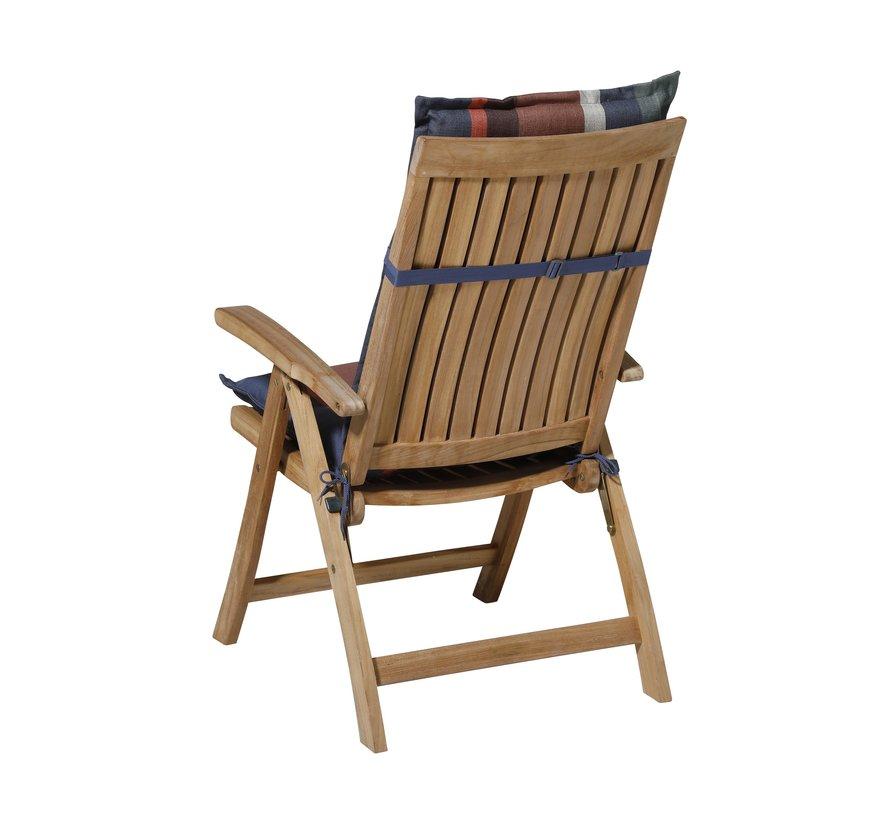Madison Stuhlauflage Hochlehner Stripe Blau 123cm