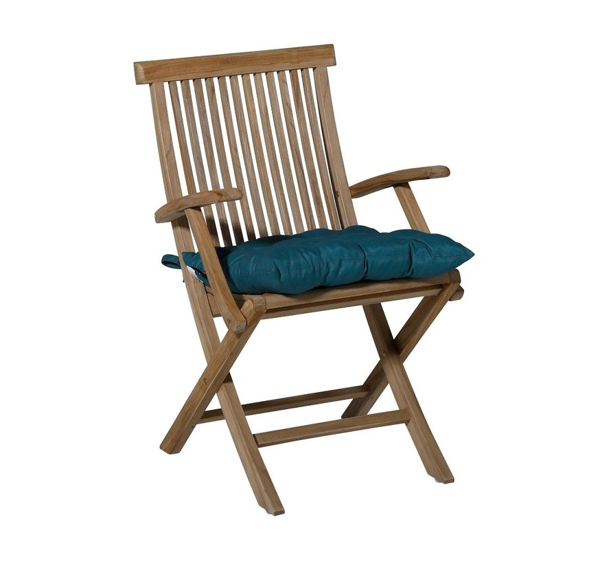 Toscane Panama Sitzkissen für Gartensessel oder Gartenbänke 46x46cm See Blau