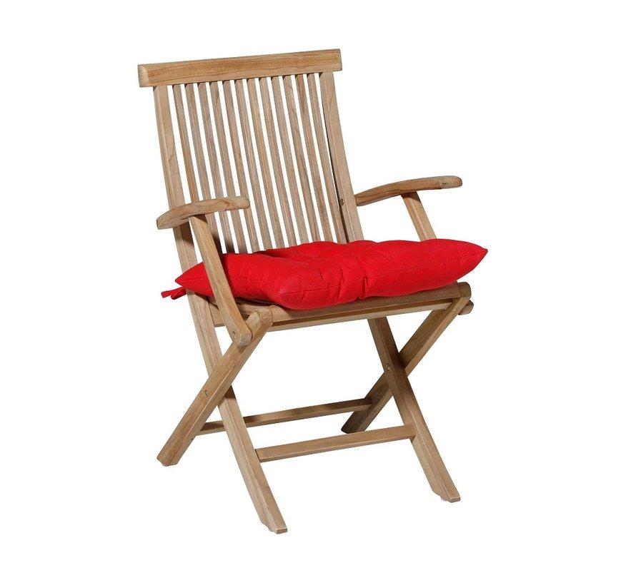Toscane Panama Sitzkissen für Gartensessel oder Gartenbank 46x46cm Rot