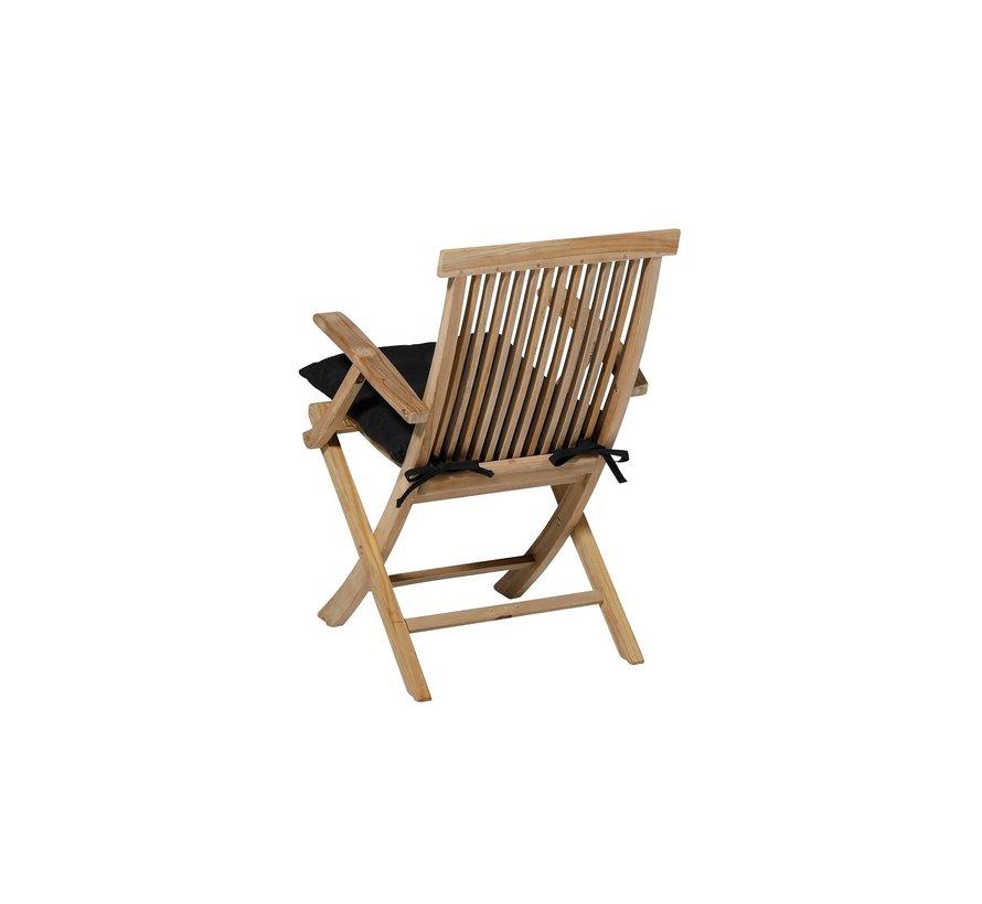 Toscane Panama Sitzkissen für Gartensessel oder Gartenbänke 46x46cm Schwarz