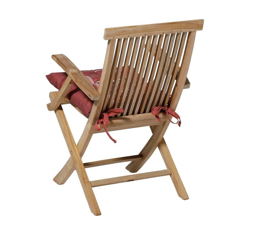 Toscane Panama Sitzkissen für Gartensessel oder Gartenbank 46x46cm Lines Rot