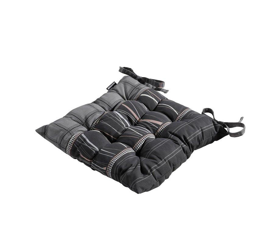 Toscane Sitzkissen für Gartensessel oder Gartenbank 46x46cm Lines Grau