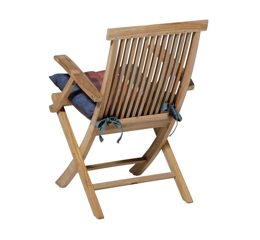 Toscane Sitzkissen für Gartensessel oder Gartenbank 46x46cm Stripe Blau