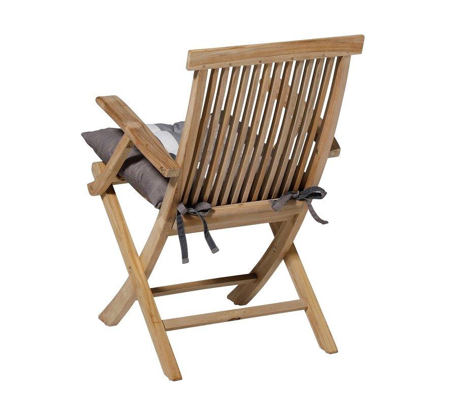 Toscane Sitzkissen für Gartensessel oder Gartenbank 46x46cm Stripe Grau