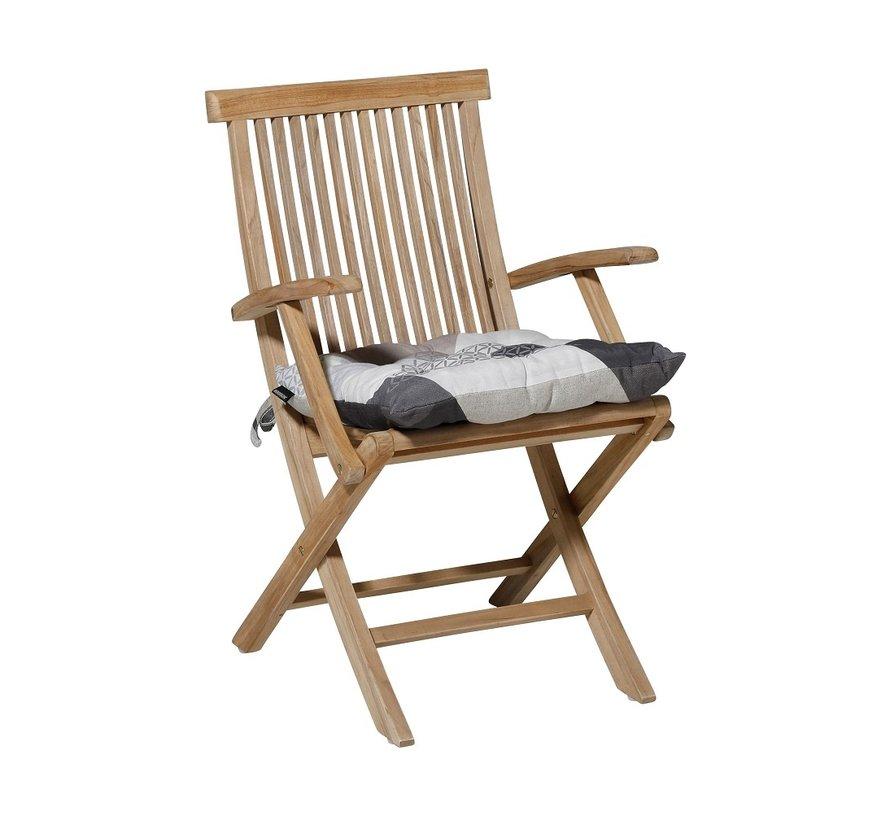Toscane Sitzkissen für Gartensessel oder Gartenbank 46x46cm Triangle Grau