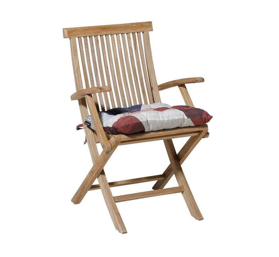 Toscane Sitzkissen für Gartensessel oder Gartenbank 46x46cm Triangle Blau
