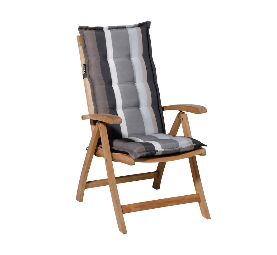 Madison stoelkussen hoge rug Stripe Grijs 123cm