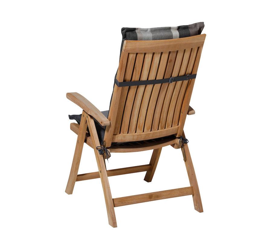 Madison Stuhlauflage Hochlehner Stripe Grau 123cm