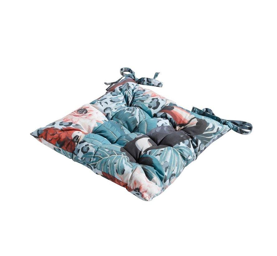 Toscane Sitzkissen für Gartensessel oder Gartenbank 46x46cm Rio Blau