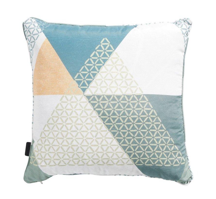 Set mit 3 dekorativen Kissen l Ockergelb l See Blau l Triangle Grün