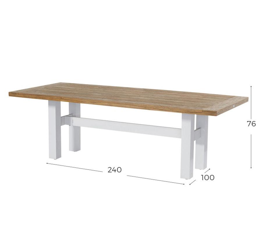 Sophie Yasmani Teakholz Tisch 240cm - Weiß