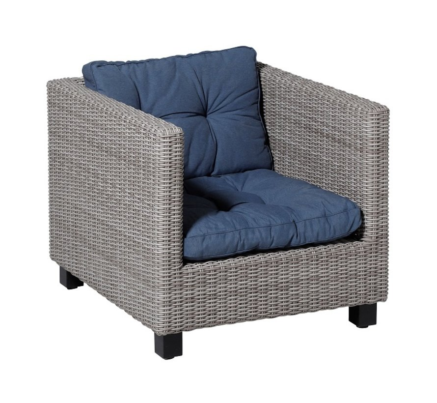Florance Zitkussen met 1 Rugkussen voor uw Lounge- of Tuinset | 73x73cm | Panama Saffier Blauw