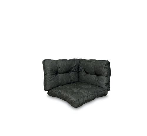 Madison Sitzkissen und Rückenkissen für Loungemöbel und Garnitur 3-teilig | Rib Schwarz