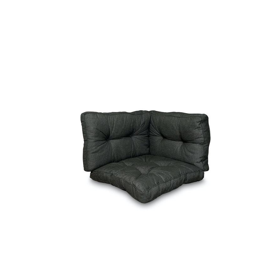 Sitzkissen und Rückenkissen für Loungemöbel und Garnitur 3-teilig | Rib Schwarz