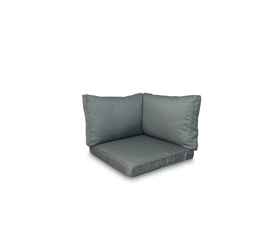 Sitzkissen und Rückenkissen für Loungemöbel und Garnitur 3-teilig | Rib Grau
