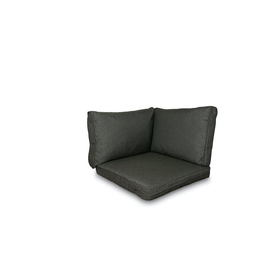 Sitzkissen und Rückenkissen für Loungemöbel und Garnitur 3-teilig   Rib Schwarz