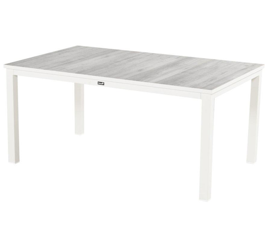 Comino Aluminium Gartentisch 160cm Weiß - Keramisch