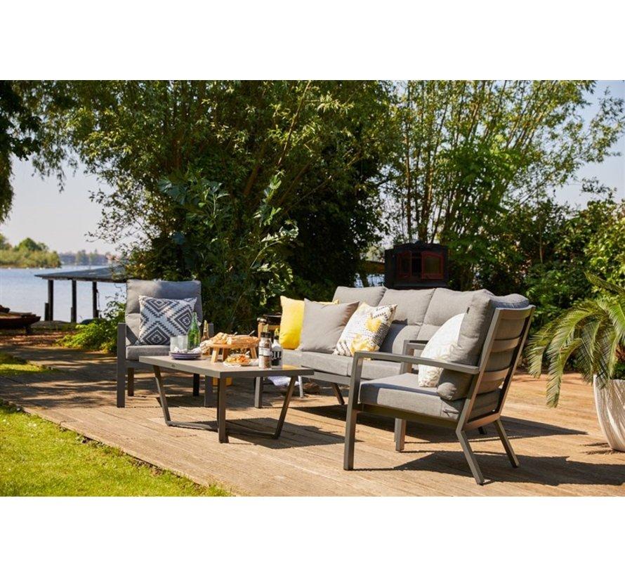 Canberra aluminium loungeset Weiss mit loungetisch