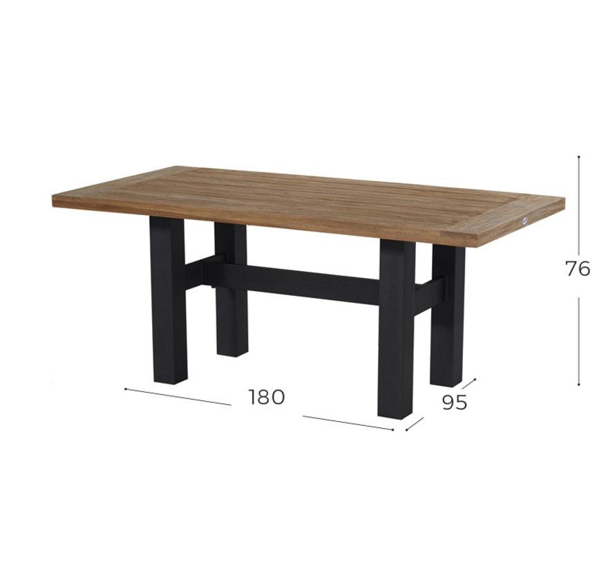 Sophie Yasmani Teakholz Tisch 180cm - Zwart