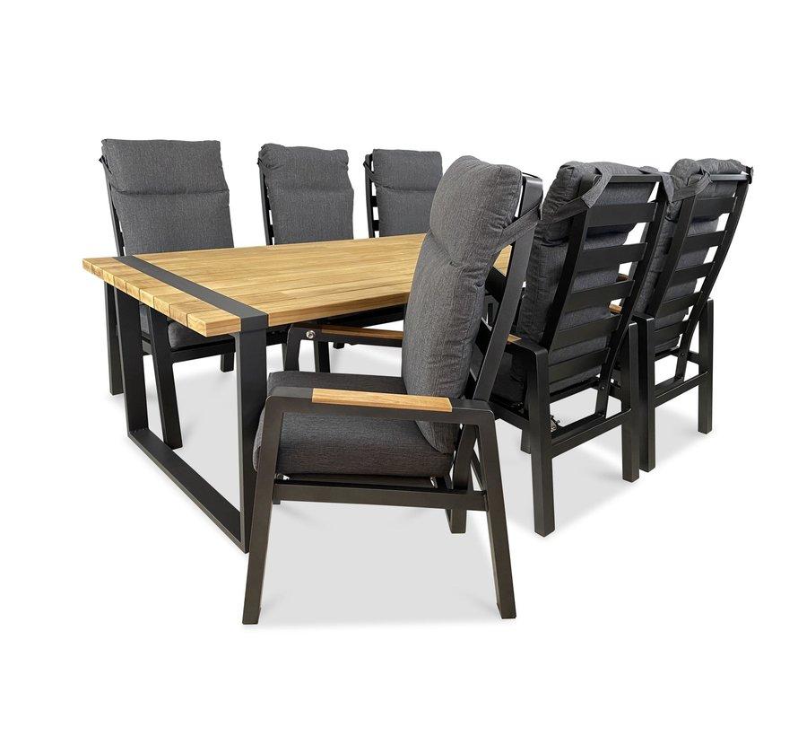 PAZOON Como Dining verstellbarer Gartenstuhl mit Teak Armlehne | Grau