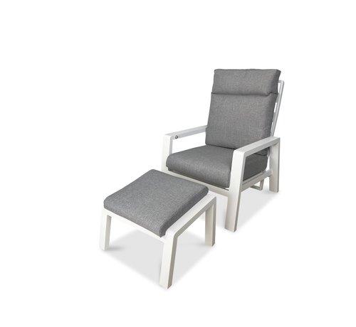 PAZOON PAZOON Como Lounge verstellbarer Gartenstuhl mit Hocker | Weiß