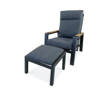PAZOON Como Grijs loungestoel met Teak armleuning en hocker