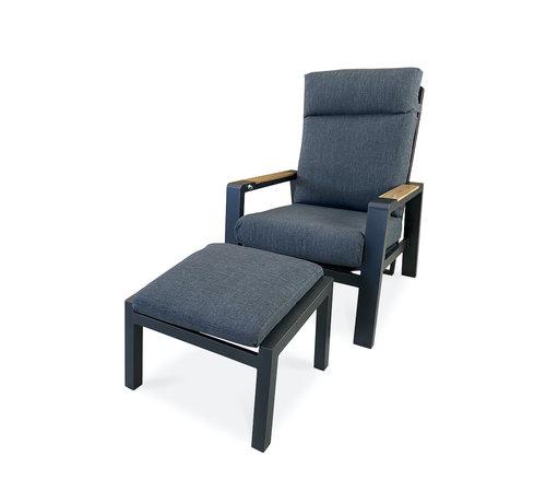 PAZOON PAZOON Como verstelbare aluminium loungestoel met hocker   Grijs -Teak