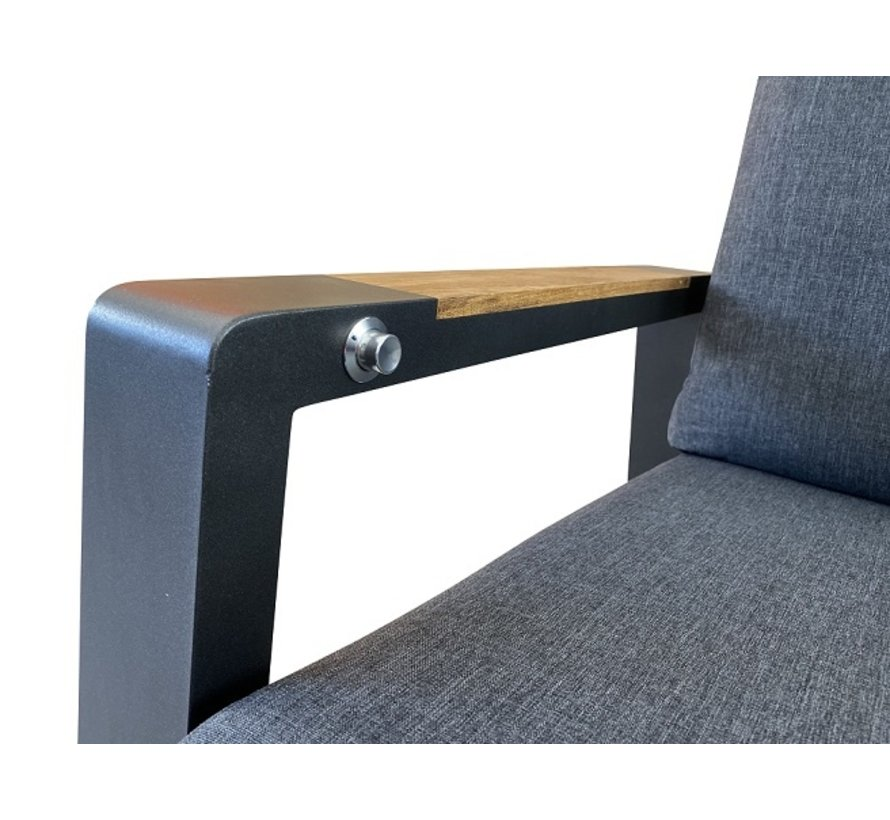 PAZOON Como verstelbare aluminium loungestoel met hocker   Grijs -Teak