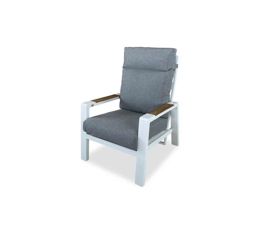 PAZOON Como Lounge verstelbare tuinstoel Aluminium en Teak   Wit