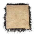 Bazar Bizar De Raffia Kussenhoes - Vierkant - Naturel Zwart - 60x60