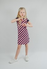Shout it out Shout it out Straight Dress Cross stripe pink/blue