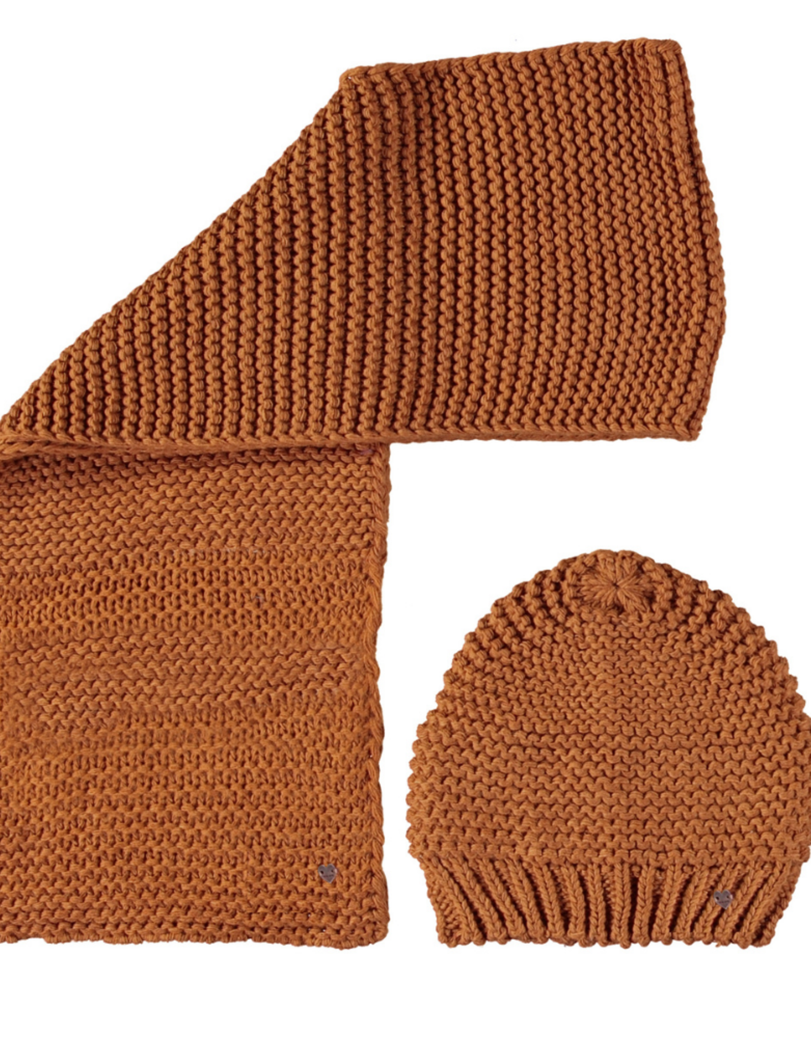 NONO NONO knitted scarf and hat 5900 chetsnut