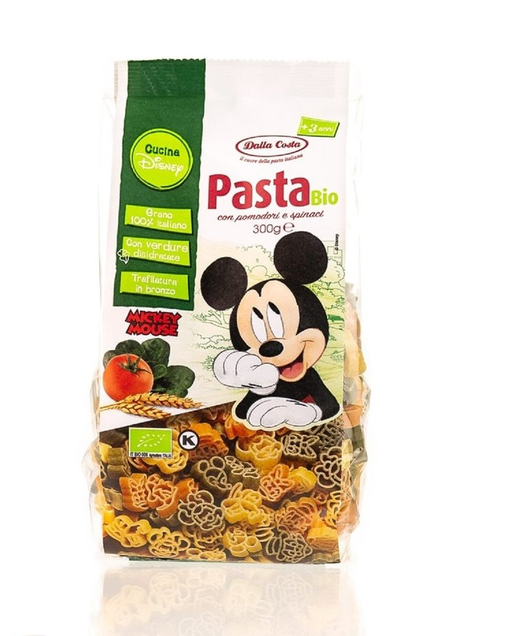 Biologische Mickey Mouse pasta 3 kleuren 300g Dalla Costa
