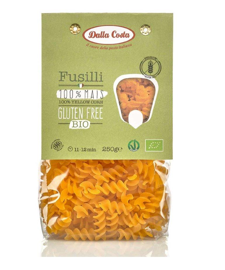 Biologische glutenvrije fusilli pasta van 100% mais 250g Dalla Costa