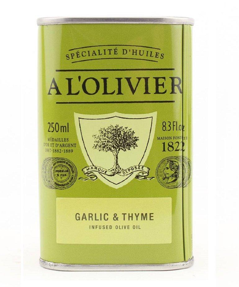 Olijfolie extra vergine knoflook & tijm 250ml A L'Olivier