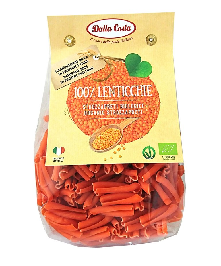 Biologische strozzapreti pasta rode linzen 250g Dalla Costa