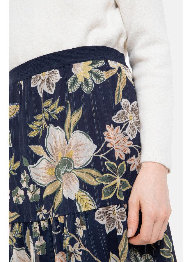 Terre Bleue - navyblauwe rok met bloemenprint