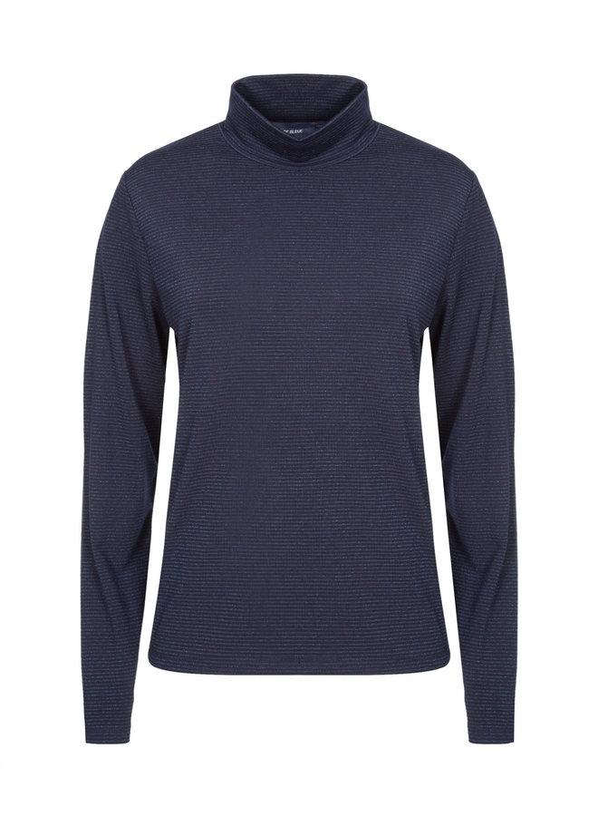 Terre Bleue - donkerblauw t-shirt met rolkraag