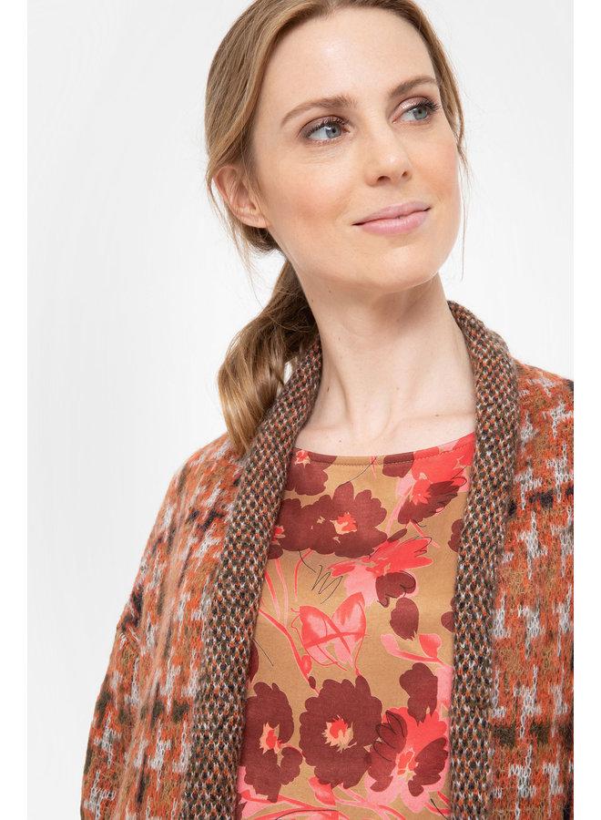 Terre Bleue - bruine blouse met bloemenprint