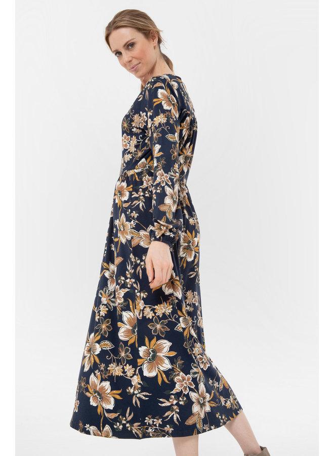 Terre Bleue - lang donkerblauw kleed met bloemenprint
