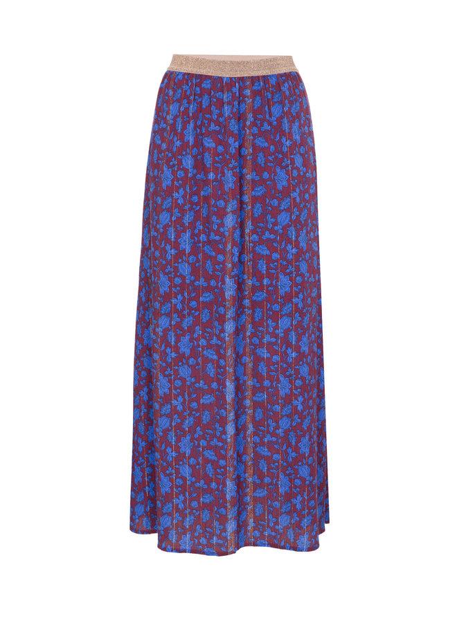 Terre Bleue - paarse lange rok met bloemenprint