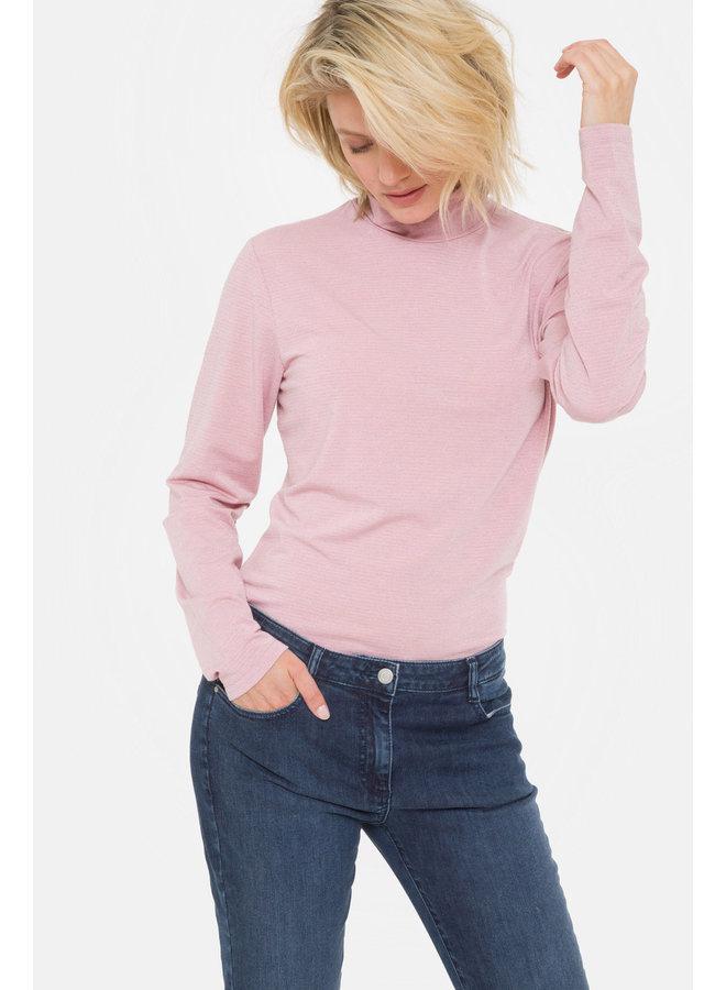 Terre Bleue - roze t-shirt met rolkraag