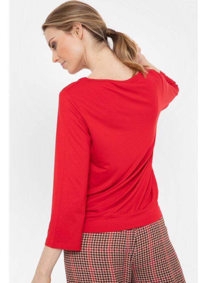 Terre Bleue - rode blouse met lange mouwen
