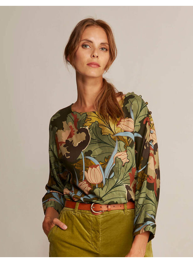 River Woods - Blouse met boothals in viscose