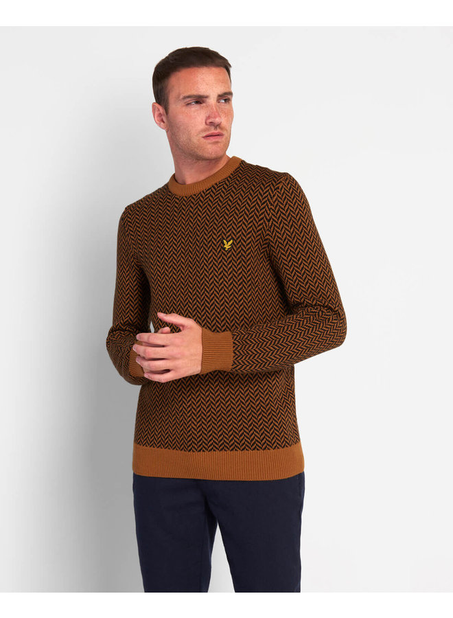 Lyle & Scott - Knitted Jumper With Herringbone Jacquard