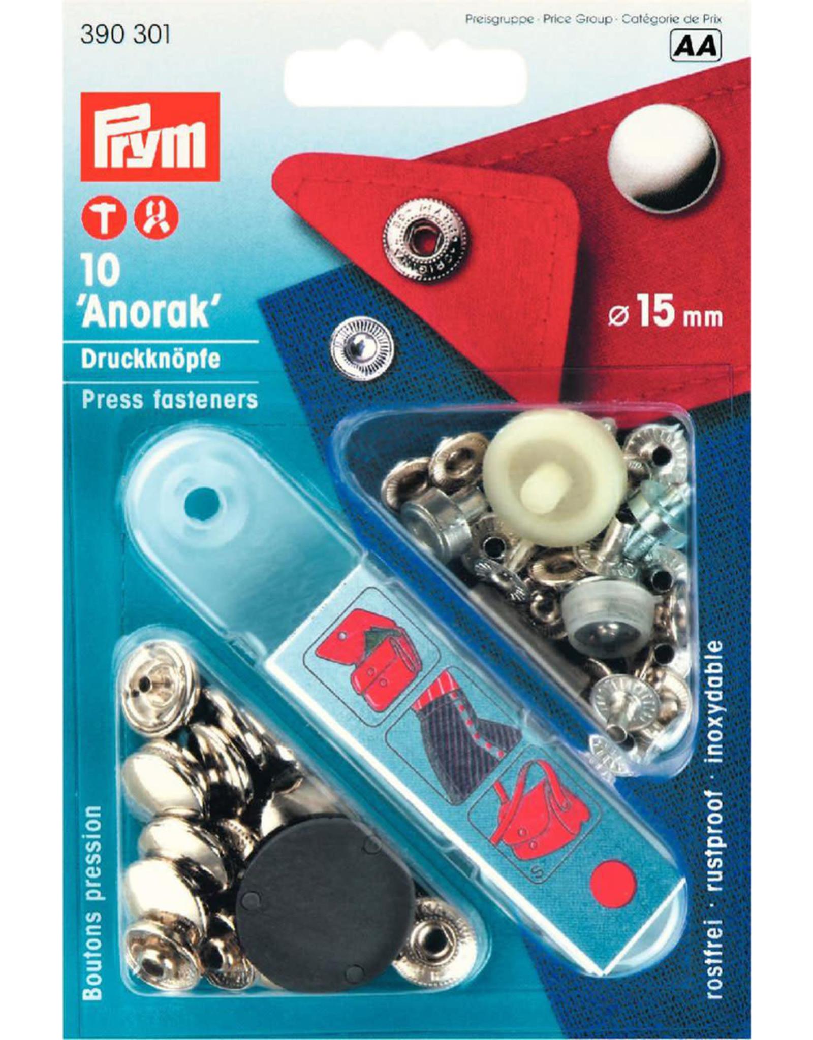 Prym Prym 390.301 - Anorak drukknopen - 15mm - Zilver
