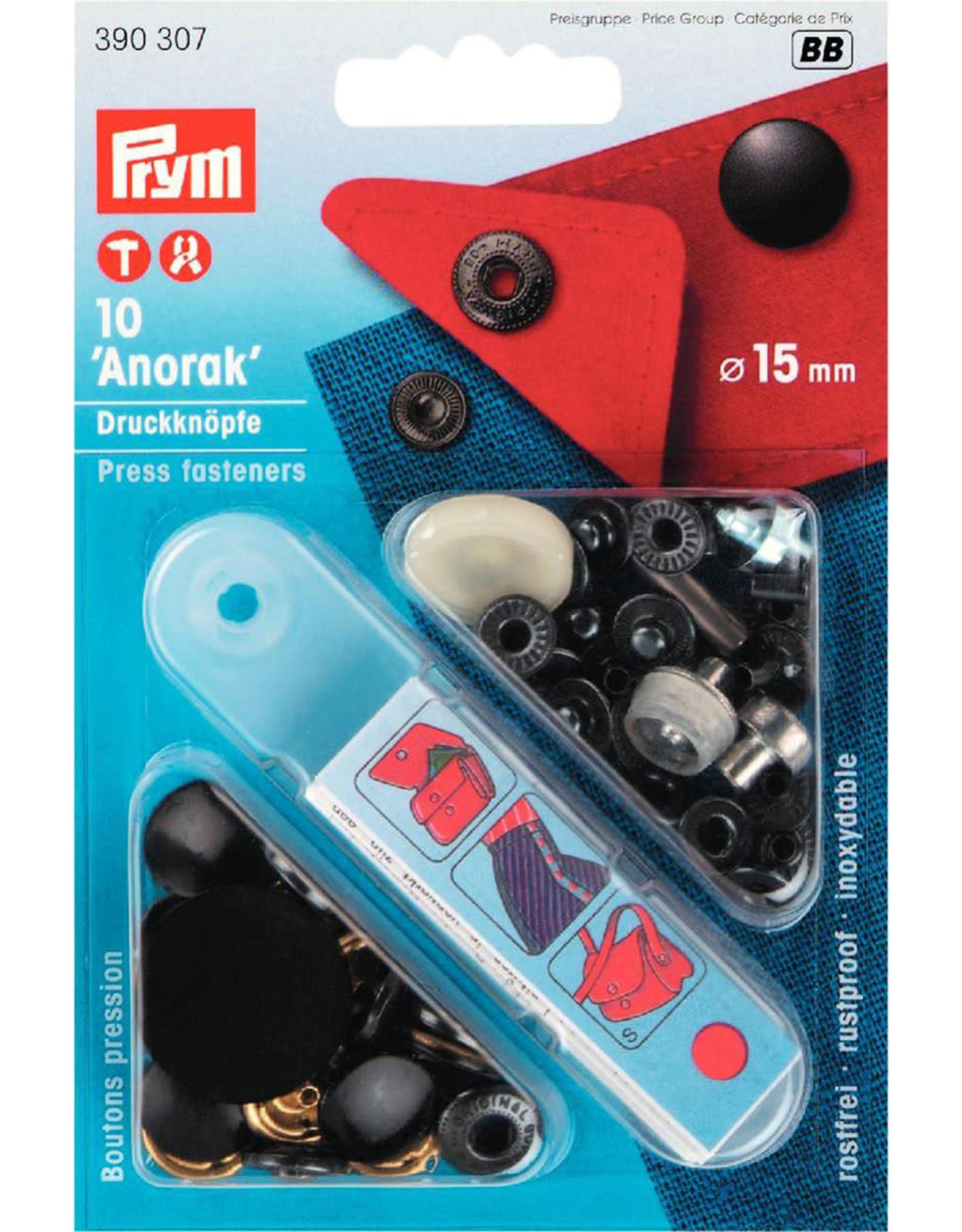 Prym Prym 390.307 - Anorak drukknopen - 15mm - Zwart