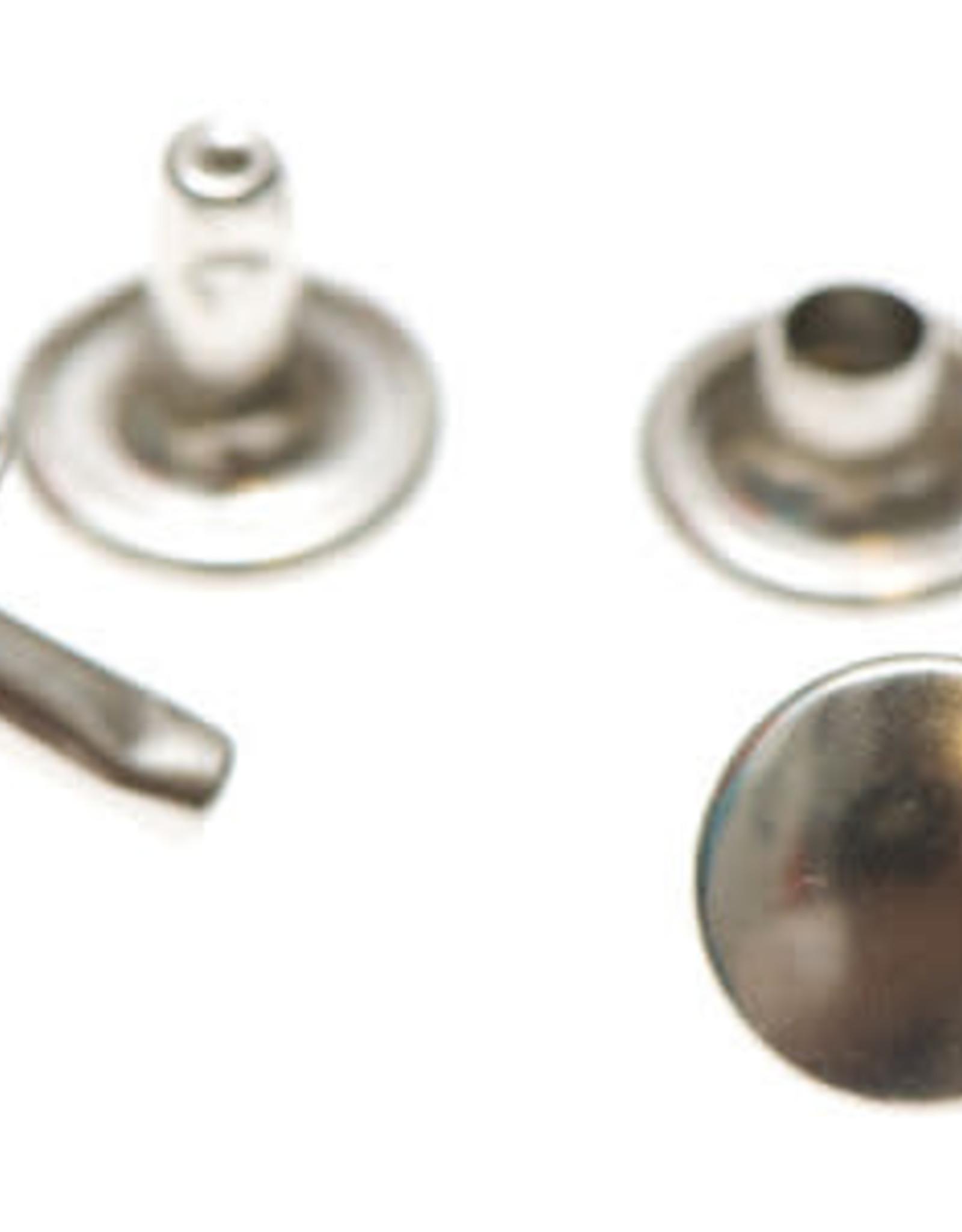 Holnieten 9mm - Nikkelkleurig - 10 stuks - DUBBELE KOP