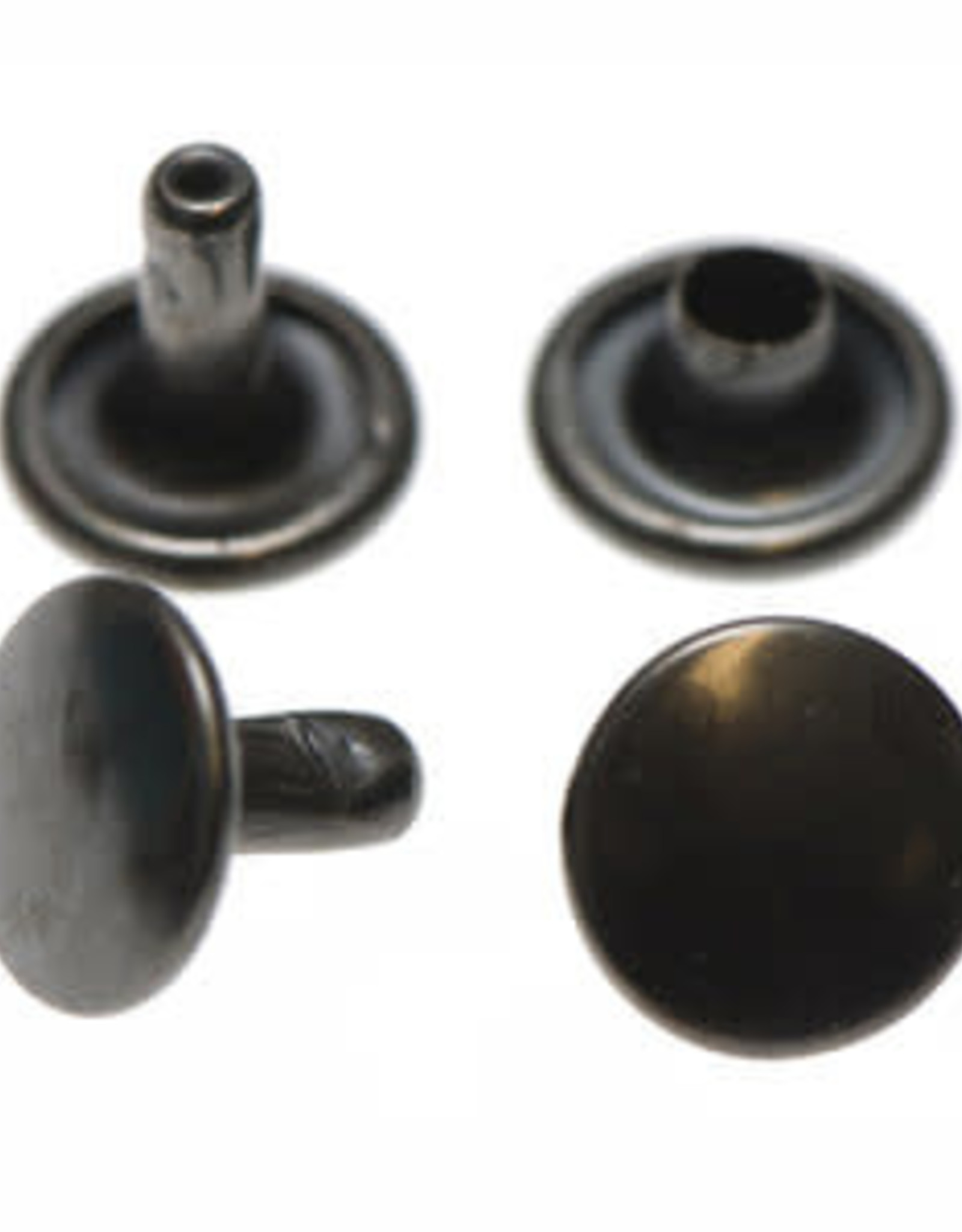 Holnieten 9mm - Gunmetal - 10 stuks - DUBBELE KOP
